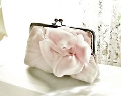 pale pink clutch with large rosette