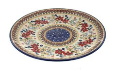 Red Daisy Dinner Plate - Blue Rose Polish Pottery