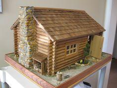 Log Cabin Dollhouse Natural Wa
