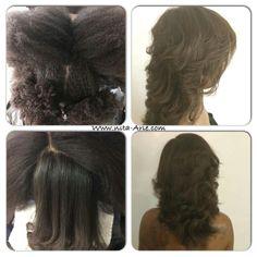 My sis 4c natural silk pressed hair.major shrinkage.