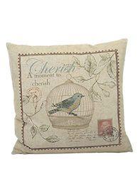 Newport Stamp Face Blue Bird Decorative Pillow