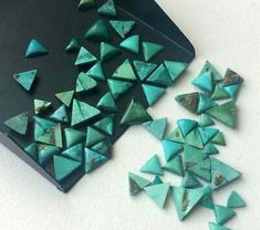 Rarest Lot Natural Black Onyx 6X6 mm Trillion Cabochon Loose Gemstone