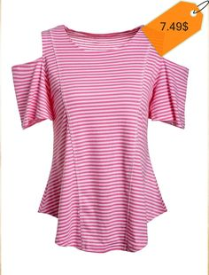 Fashionable Round Collar Short Sleeve Striped Cut Out T-Shirt For Women