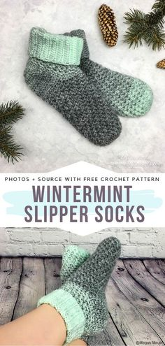 Wintermint Slipper Socks Free Crochet Pattern This beautiful pair has a slightly higher cut, so it will protect you from the cold of your floors even better than the first one. Wintermint Slipper Socks are the very essence of fashionable home footwear. Crochet Socks Pattern, Loom Knitting Patterns, Crochet Shoes, Crochet Slippers, Crochet Clothes, Crochet Stitches, Crochet Patterns, Crochet Granny, Stitch Patterns