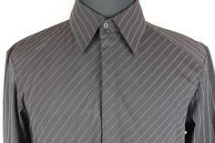 7 DIAMONDS Mens Brown Striped Long Sleeve Button Front Shirt sz L Large #7Diamonds #ButtonFront