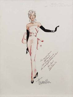 "Travilla costume sketch for Marilyn Monroe in ""Gentlemen prefer blondes"" 1953. After this sketch they decided to change the gloves and shoes to pink also."