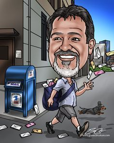 Retirement caricature drawn from a photo to capture work history, interests, and even quirks in a fun and sentimental way