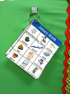 monthly word charts: great for introducing themed vocabulary and having it displayed during month for easy visual!