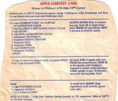 Apple Harvest Cake Recipe Clipping