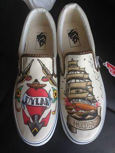 Custom Vans Shoes, Custom Painted Shoes, Custom Sneakers, Shoe Art, Art Shoes, Cool Converse, Rose Vans, Air Force One Shoes, Hype Shoes