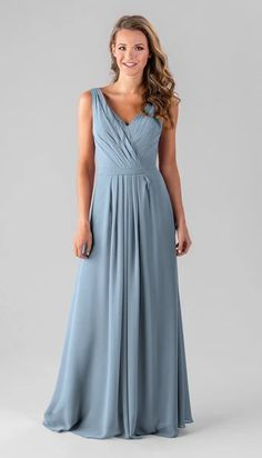 Get styled in this chiffon, V-neck bridesmaid dress with a flattering A-line skirt your girls will love. Available in colors, shop Kennedy Blue Amelia today! Slate Blue Bridesmaid Dresses, Blue Bridesmaids, French Lilac, Flowy Skirt, Skirt Pleated, Pregnancy Stages, Chiffon Fabric, Chiffon Dresses, Dress Backs