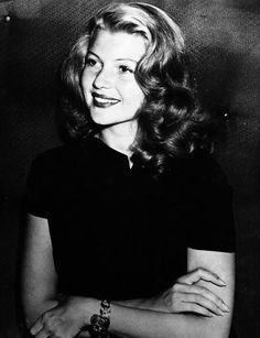Rita Hayworth at a press-conference in Hollywood in 1948