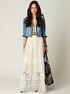 Gonna lunga bianca in stile country con giacca di jeans Moda Boho 77faf3d87bf