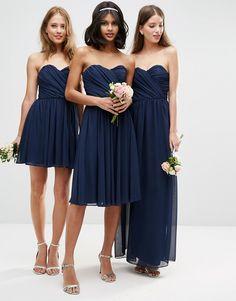 Image 3 - ASOS WEDDING - Robe mi-longue bandeau en mousseline