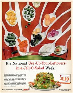 National Use-Up-Your-Leftovers-in-a-Jell-O-Salad Week. Old food all thrown together and chrystalized in gelatin. I guess if you're a child a depression, even onion jello salad is edible. Retro Recipes, Old Recipes, Vintage Recipes, Recipies, Retro Ads, Vintage Advertisements, Vintage Ads, Vintage Food, Vintage Party