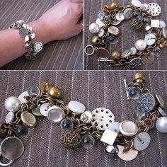 DIY Gypsy Button Bracelet. From creative kismet here. A tutorial that reminds me how simple it is to attach anything to a store bought chain. My question is: where do all these women find all these unusual/vintage/beautiful buttons? My buttons are the extras they include in a little plastic bag attached to my clothes!