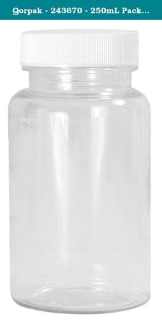 Qorpak - 243670 - 250mL Packer Bottle, Wide Mouth, PETE, PK 270. Technical Specification Item Packer Bottle Capacity 250mL Labware Basic Material Plastic Bottle/Jar Shape Round Mouth Wide Labware Body Color Clear Labware Body Material Polyethylene Terephthalate (PET) Labware Closure Color White Clear Closure Material Polypropylene Graduation Range Not Specified Height 112mm Diameter 64mm This listing is for pkg. of 270.
