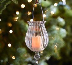 Fluted Glass Tealight Holder Ornament #potterybarn