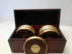 Cleveland Caveliers 6 coaster set with storage box wine gold WOOD METAL PLASTIC