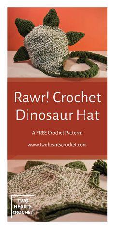 crochet dinosaur patterns How to crochet the Dinosaur Hat Crochet Hats For Boys, Crochet Baby Hats, Crochet Beanie, Easy Crochet, Knitted Hats, Irish Crochet, Tutorial Crochet, Crochet Gratis, Free Crochet