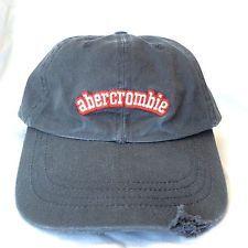Vtg Abercrombie Soccer Ball Baseball Style Charcoal Gray Cap Hat Adj  Distressed 751d0baff29