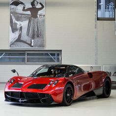 Pagani Huayra painted in Dark Red w/ exposed Carbon Fiber Photo taken by: Koen Ursem Photography on Facebook