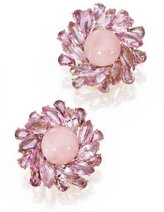 PAIR OF 18 KARAT ROSE GOLD, CORAL AND PINK SAPPHIRE EARCLIPS, MICHELE DELLA VALLE Of floral design, centered by two pink coral cabochons framed by 40 marquise and pear-shaped pink sapphires weighing 29.88 carats, signed Michele della Valle, numbered 130718.