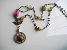 Steampunk Jewelry Necklace Gears Wings Angel by DragonflyLair, $23.00