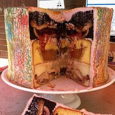 The Fattiest Food on Pinterest. This one is Triple-Stuffed Pie-Cake: cherry pie baked into a chocolate cake, apple pie in a yellow cake, and pumpkin pie in a spice cake, all covered in frosting.