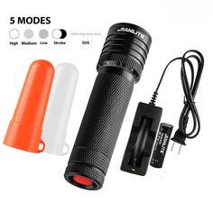 LED Flashlight, Super Bright 460 Lumens Military Quality Cree-T6, Water Resistant Torch, Adjustable Focus Zoom Tactical Light, Life of up To 100,000 hours, White and Red Diffuser Included by SAMLITE ** You can get more details here : Camping stuff