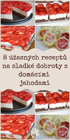 Czech Recipes, Ethnic Recipes, Eastern European Recipes, Cheesecake, Frozen, Strawberry, Food And Drink, Sweets, Baking
