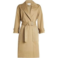 Vanessa Bruno Cotton Trench Coat (29.590 RUB) ❤ liked on Polyvore featuring outerwear, coats, beige, brown trench coat, belted trench coat, belted coat, trench coat and brown coat