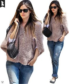 12:04: Rachel Bilson's Casual Style: Relaxed Jeans, Classic Ballet Flats, Dolman Sleeve Shaggy Top and a Structural Little Purse