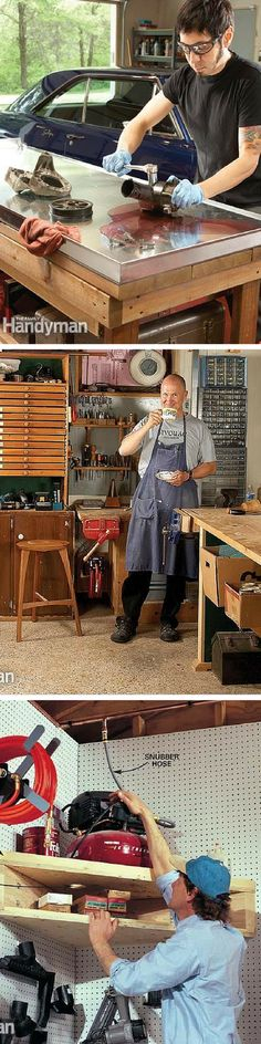Workshop Storage: Workshop ideas to create a well-organized workshop with plenty of storage space and workspace for all your do-it-yourself projects. http://www.familyhandyman.com/workshop