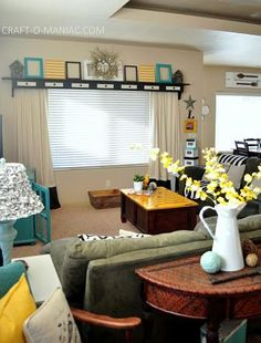 Craft-O-Maniac: Home Decor~ My Turquoise and Yellow Family Room