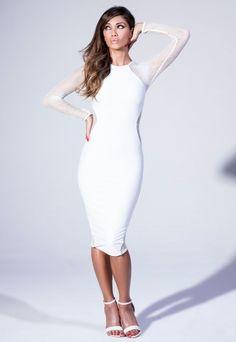 Midi Dress With Fishnet Panel - Nicole x Missguided