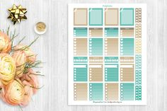 Brown and Dark Cyan Printable Planner stickers, Instant Download, Daily and Monthly planner stickers, EC, Kikkik, Filofax,Plum Planner,set 2 by freakycreation on Etsy