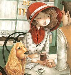 Best way to enjoy a cup of coffee cup of joe кофе, чашка кофе, иллюстрации. Coffee Illustration, Cute Illustration, Deco Cafe, Cafe Art, Kids Story Books, I Love Coffee, Whimsical Art, Dog Art, Coffee Cups