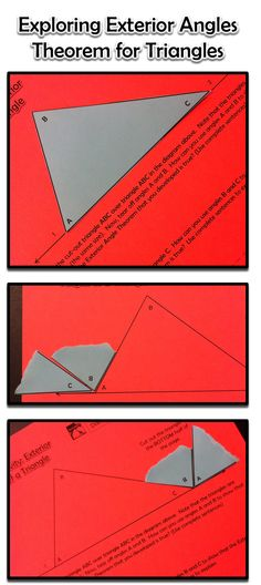 Exterior Angles Of A Triangle Inquiry Activity Math Geometry Interactive Notebook, Teaching Geometry, Teaching Math, Math 8, Teaching Tools, Teaching Ideas, Exterior Angles, Math Coach, Inquiry Based Learning