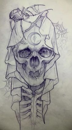 Tattoo drawings for men - this picture shows a cute Tattoo Zeichnungen für Männer – Dieses Bild zeigt eine niedliche Zeichnung ei… Tattoo drawings for men – This picture shows a cute drawing of a baby skeleton with a very large skull. Sketch Tattoo Design, Skull Tattoo Design, Tattoo Sketches, Tattoo Drawings, Drawing Sketches, Tattoo Designs, Tattoo Ideas, Skull Drawings, Skull Design