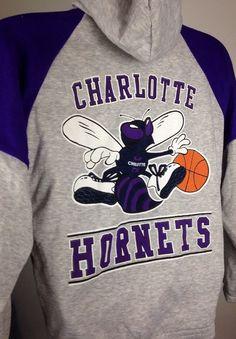 Vintage Starter Charlotte Hornets Coat Jacket Hoodie Small Made in USA   eBay