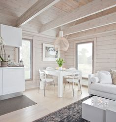 This is a very white design, but the simplicity is very Scandinavian modern. Cabin Design, Cottage Design, House Design, Modern Interior, Home Interior Design, Urban Outfiters Bedroom, Log Home Interiors, House In The Woods, Log Homes