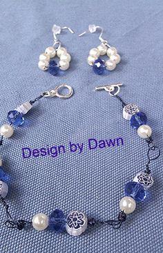 Blue white  flower  pearl bead earring bracelet by DoubleDzBeadz, $5.00