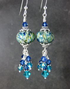 Boho Dangle Earrings, Teal & Blue Glass Earrings, Crystal Earrings, Boro Lampwork Earrings, Sterling Silver Earrings, Gift for Her