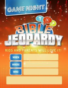 Printable Bible Jeopardy Game. Awesome for Sunday School, Youth Group, Family Night Out, etc.