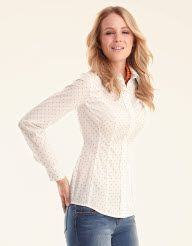 Classic Spot Shirt in White/Camel by Pepperberry Tops