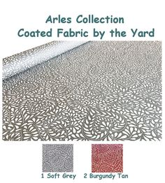 ❖ ❖ Laminated Coated Water Resistant Fabric Provence Arles ❖ ❖  This fabric is water and stain resistant, great for outdoor or indoor projects when we want an easy fabric, It comes in Soft Grey on an off white background - or in Soft Burgundy with a tan background - Width : 60 inches Pattern repeat approx. Vertically : 12.5.  All fabric will be cut directly from the bold. If you need more than 5 yards, please send me a message and I will gladly set a custom listing for you.   ❖ ❖ Waterproof…