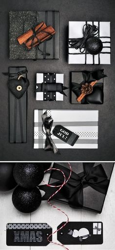 Elegant Halloween and Christmas Gift Wrapping // idées emballages cadeaux, black and white wrapping, packages, gifts Wrapping Ideas, Wrapping Gift, Gift Wraping, Creative Gift Wrapping, Christmas Gift Wrapping, Creative Gifts, Paper Wrapping, Elegant Gift Wrapping, Black Christmas