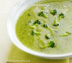 My Fat Burning Creamy Broccoli Soup. This flavorful broccoli soup will fill you up quickly and help you burn more calories throughout the day. Fat Burning Soup, Fat Burning Foods, Burning Man, Diet Recipes, Cooking Recipes, Healthy Recipes, Recipies, Healty Meals, Fit Meals