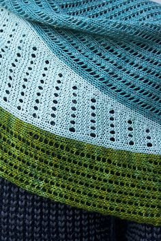 Tin Can Knits Slice Shawl Knitting Pattern with multi directional shawl eyelets and lace